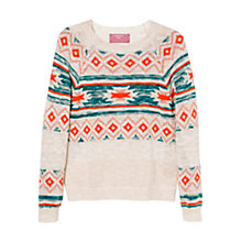 Buy Mango Kids Girls' Jacquard Jumper, Cream/Multi Online at johnlewis.com