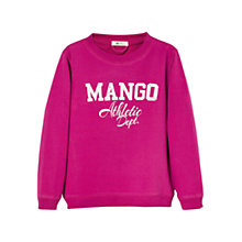 Buy Mango Kids Long Sleeve Logo Jumper, Pink Online at johnlewis.com