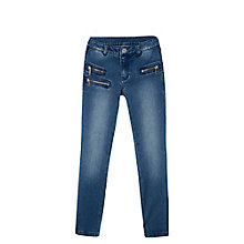 Buy Mango Kids Girls' Skinny Zip Jeans, Black Online at johnlewis.com