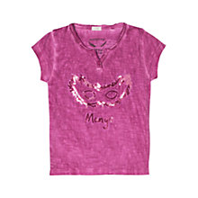 Buy Mango Kids Girls' Sequin Mask T-Shirt, Purple Online at johnlewis.com