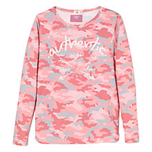 Buy Mango Kids Girls' Camouflage Print Long Sleeve T-Shirt, Pink Online at johnlewis.com