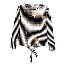 Buy Mango Kids Girls' Sequin Star Stripe T-Shirt, White/Black Online at johnlewis.com