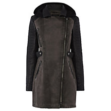 Buy Warehouse Heavy Wash PU Panel Parka, Dark Grey Online at johnlewis.com