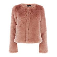 Buy Warehouse Crop Faux Fur Jacket, Light Pink Online at johnlewis.com
