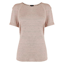 Buy Warehouse Marl Turn Back Tee, Light Pink Online at johnlewis.com