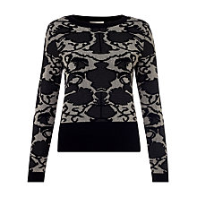 Buy Somerset by Alice Temperley Floral Jacquard Jumper, Black/Taupe Grey Online at johnlewis.com