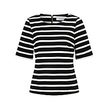Buy COLLECTION by John Lewis Natalia Stripe Ponte Top, Black/White Online at johnlewis.com