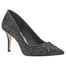 Buy Dune Alina Stiletto Heeled Court Shoes, Black Glitter Online at johnlewis.com