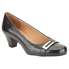 Buy Clarks Fearne Shine Leather Wide Fit Mid Heel Court Shoes Online at johnlewis.com
