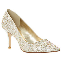 Buy Dune Alina Stiletto Heeled Court Shoes, Gold Glitter Online at johnlewis.com