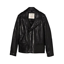 Buy Mango Kids Boys' Leather Biker Jacket, Black Online at johnlewis.com