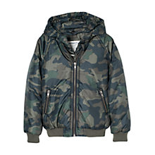 Buy Mango Kids Boys' Camouflage Detachable Hood Coat, Khaki Online at johnlewis.com