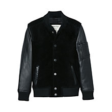 Buy Mango Kids Boys' Suede Bomber Jacket, Black Online at johnlewis.com