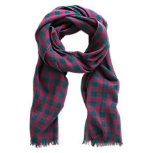 Buy Mango Kids Boys' Check Bi-Colour Scarf, Purple/Blue Online at johnlewis.com