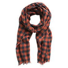 Buy Mango Kids Check Scarf, One Size, Orange/Black Online at johnlewis.com