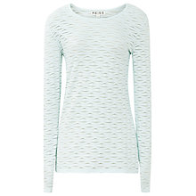Buy Reiss Bentley Stripe Semi Sheer Top, Aquamarine/Cream Online at johnlewis.com