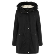 Buy Oasis Shower-Proof Cassie Wax Borg Lined Parka, Black Online at johnlewis.com