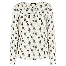 Buy Oasis Frill Front Balloon Shirt, Black and White Online at johnlewis.com