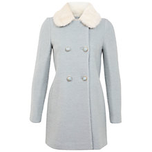 Buy Miss Selfridge Fur Collar Pea Coat, Blue Online at johnlewis.com