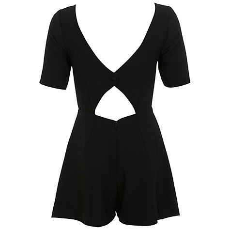 Buy Miss Selfridge Pleated Front Crepe Playsuit, Black Online at johnlewis.com