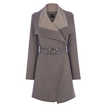 Buy Oasis Long Two Tone Drape Coat, Mid Grey Online at johnlewis.com
