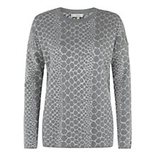 Buy Hobbs Snake Jacquard Sweatshirt, Grey Melange Online at johnlewis.com