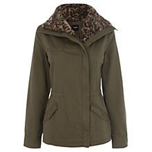 Buy Oasis Leopard Fur Collar Jacket, Khaki Online at johnlewis.com