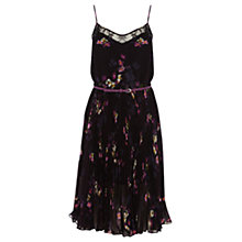 Buy Oasis Painted Floral Pleat Midi Dress, Multi Black Online at johnlewis.com