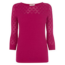 Buy Oasis Pointelle Top, Mid Pink Online at johnlewis.com