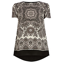 Buy Oasis Scarf Print T-Shirt, Black and White Online at johnlewis.com