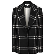 Buy Reiss Adelle Check Novelty Coat, Black/Cream Online at johnlewis.com