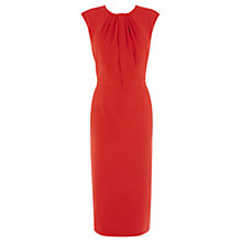 Buy Warehouse Tuck Neck LL Pencil Dress, Bright Red Online at johnlewis.com