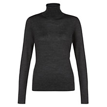 Buy Hobbs London Lara Roll Neck Jumper, Charcoal Online at johnlewis.com