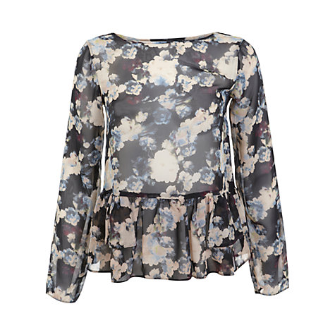 Buy Miss Selfridge Blurred Floral Top, Gold Online at johnlewis.com