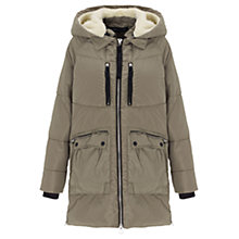 Buy Warehouse Ribbon Detail Puffa Coat, Khaki Online at johnlewis.com