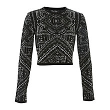Buy Miss Selfridge Navajo Tile Crop Top, Black Online at johnlewis.com