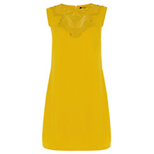 Buy Oasis Lace Trim Crepe Shift Dress, Ochre Online at johnlewis.com