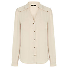 Buy Oasis Betty Plain Shirt, Stone Online at johnlewis.com
