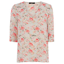 Buy Oasis Trailing Oriental Tabby Top, Multi/Grey Online at johnlewis.com
