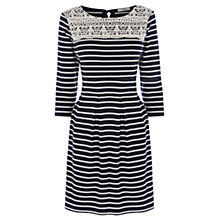 Buy Oasis Lace Yoke Stripe Dress, Multi Blue Online at johnlewis.com