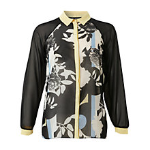 Buy Miss Selfridge Floral Placement Shirt, Black Online at johnlewis.com