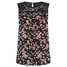 Buy Oasis Lace Trim Rose Top, Multi Black Online at johnlewis.com