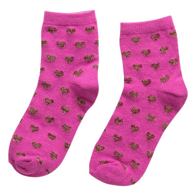 Mango Kids Girls' Metallic Ankle Socks, Pack of 2, Pink
