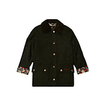 Buy Barbour Girls' Abrosa Beadnell Wax Jacket, Dark Olive Online at johnlewis.com