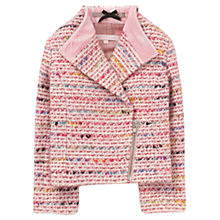 Buy Jigsaw Junior Girls' Tweed Biker Jacket, Pink Online at johnlewis.com