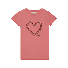 Buy Barbour Girls' Ely Flower Heart T-Shirt, Pink Online at johnlewis.com