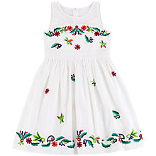 Buy Derhy Kids Girls' Embroidered Folk Dress, White Online at johnlewis.com