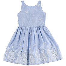 Buy Derhy Kids Girls' Embroidered Paisley Stripe Dress, Blue Online at johnlewis.com