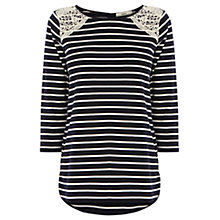 Buy Oasis Lace Shoulder Stripe 3/4 Length Sleeve Top, Multi/Blue Online at johnlewis.com