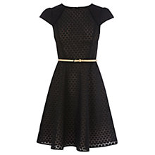 Buy Oasis Heart Burnout Cap Sleeve Dress, Black Online at johnlewis.com